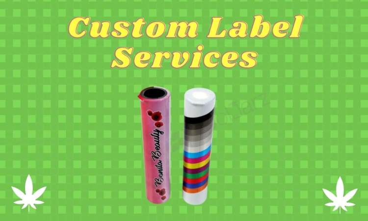 custom shrink sleeve label design services for pre-roll tubes, joint tubes, and j-tubes and vape cartridge tubes